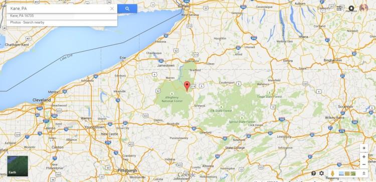 Kane, PA Map